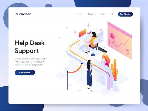 Banner de soporte de la mesa de ayuda de la página de destino