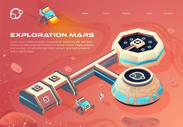 Banner space colonization infographics cartoon.