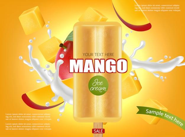 Banner de splash de helado de mango