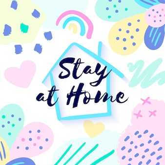 Banner stay at home para redes sociales