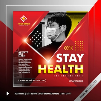 Banner de stay safe square para prevenir la plantilla de promoción de ataque de coronavirus