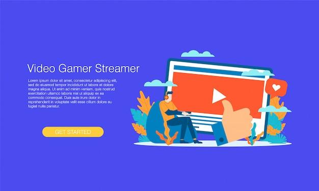Banner de streamer de videojuegos