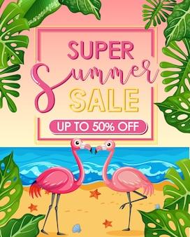 Banner de super rebajas de verano con flamingo en la playa.