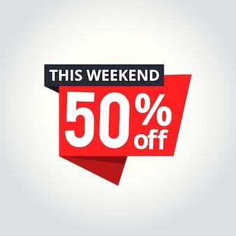 Banner de super sale. oferta de fin de semana, oferta especial, ahorre hasta 50%.