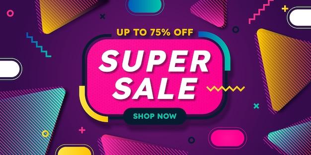 Banner de super venta abstracto plano