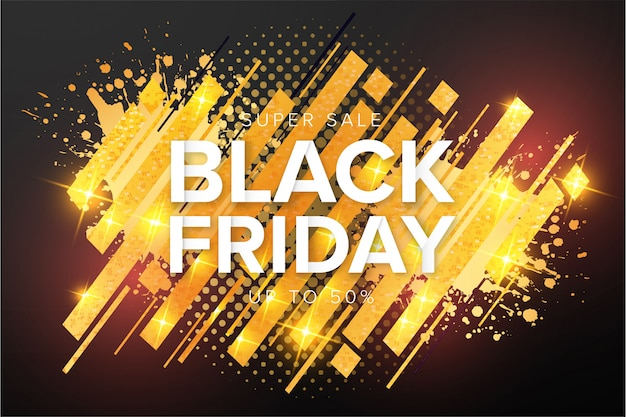Banner de super venta de black friday moderno con gold splash