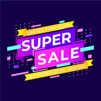 Banner de super venta colorido abstracto