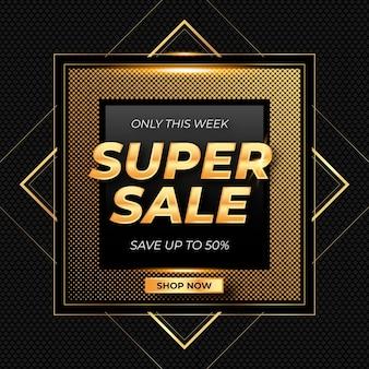 Banner de super venta dorado realista