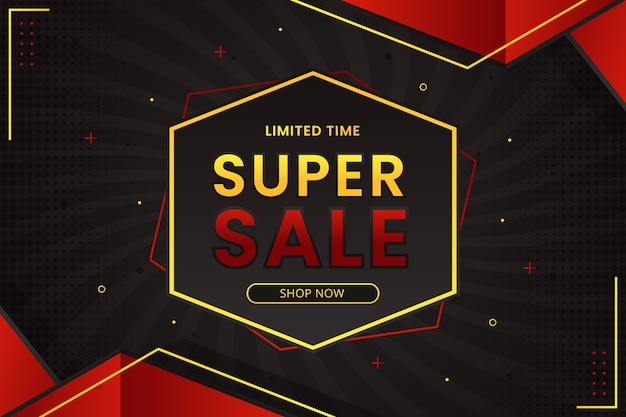 Banner de super venta con fondo degradado abstracto hexagonal