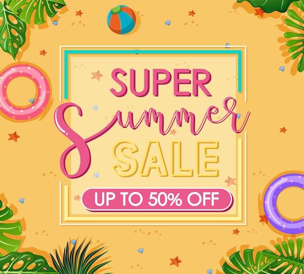 Banner de super venta de verano con elemento de playa