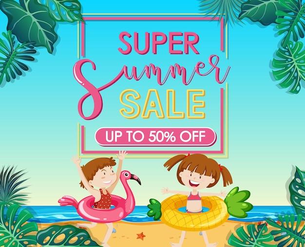 Banner de super venta de verano con muchos niños en la playa.