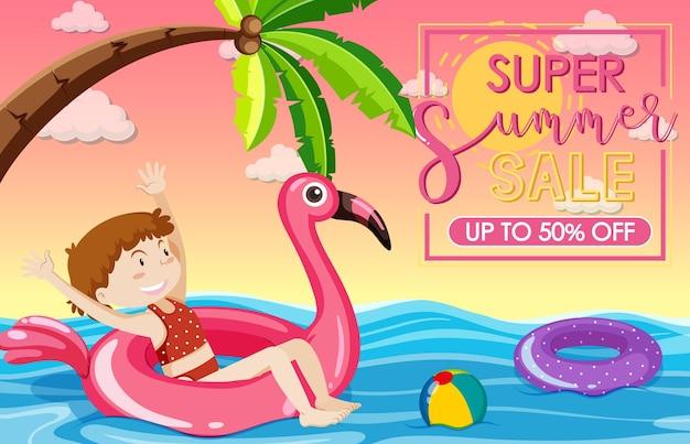 Banner de super venta de verano con una niña feliz en la playa