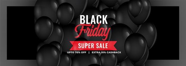 Banner de super venta de viernes negro con globos