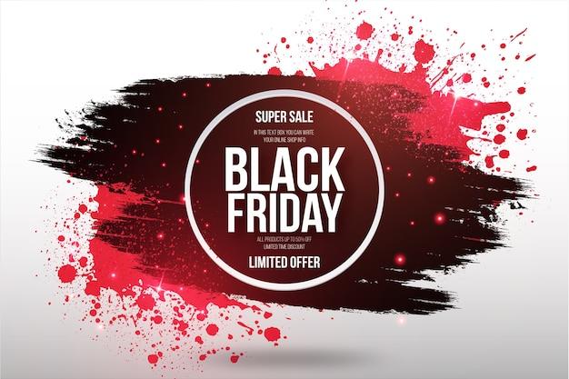 Banner de super venta de viernes negro con marco de pincel