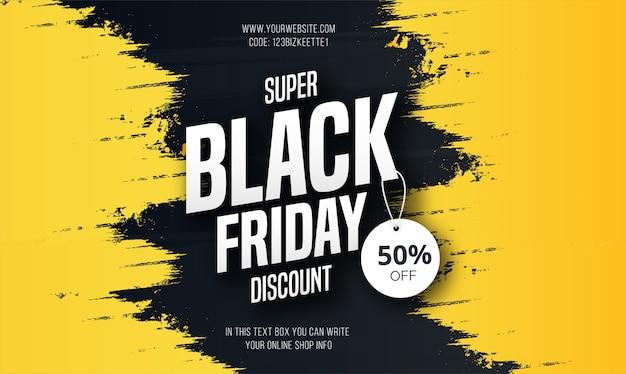 Banner de super venta de viernes negro moderno con salpicaduras amarillas