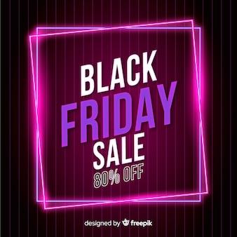 Banner de super venta de viernes negro de neón