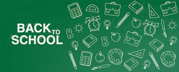 Banner de tablero verde de regreso a la escuela