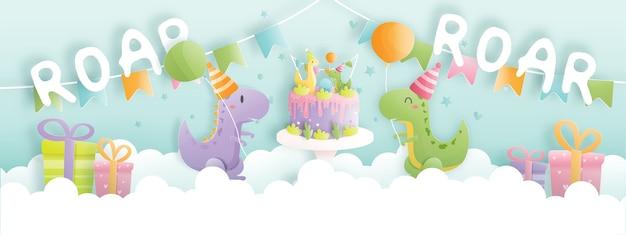 Banner de tarjeta de cumpleaños con dinosaurio lindo y cajas de regalo, pastel de cumpleaños.