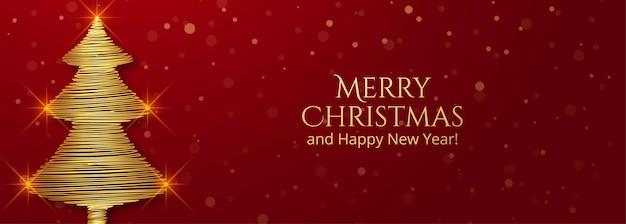 Banner de tarjeta de felicitación de árbol de navidad dorado