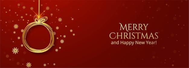 Banner de tarjeta de felicitación de bola de navidad dorada
