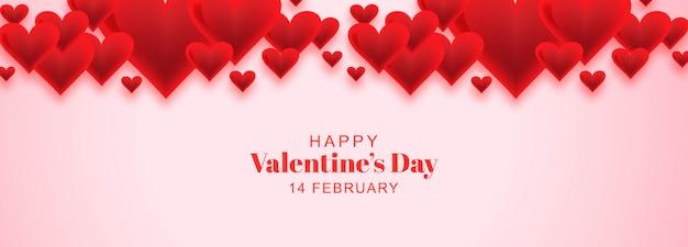 Banner de tarjeta de san valentín con corazones de amor