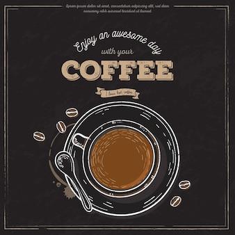 Banner de taza de café vintage
