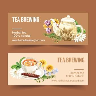 Banner de té de hierbas con manzanilla, crisantemo, romero acuarela ilustración.