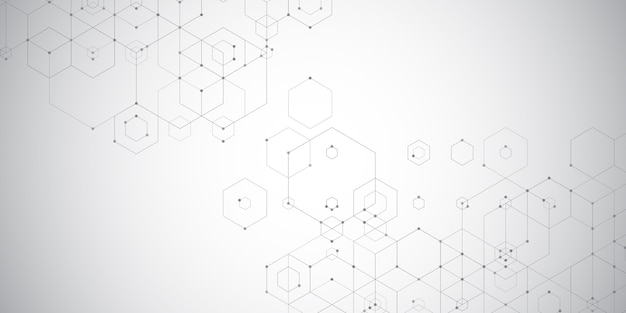 Banner techno abstracto con diseño hexagonal