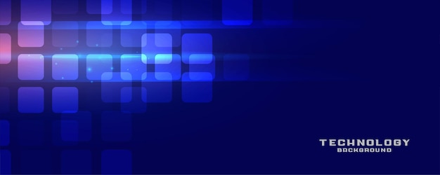 Banner de tecnología azul con efecto de luz.
