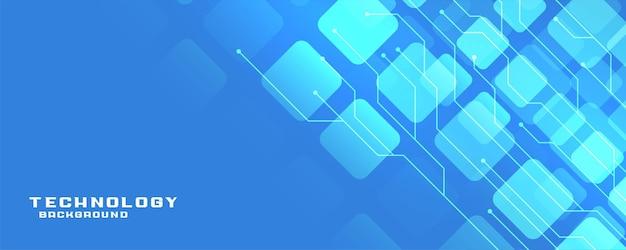 Banner de tecnología azul con líneas de circuito.