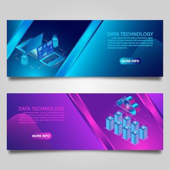 Banner de tecnología de datos y computación en la nube en concepto de computadora para diseño isométrico de negocios