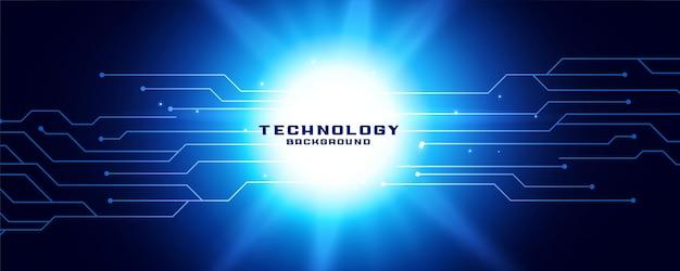 Banner de tecnología con diagrama de líneas de circuito.