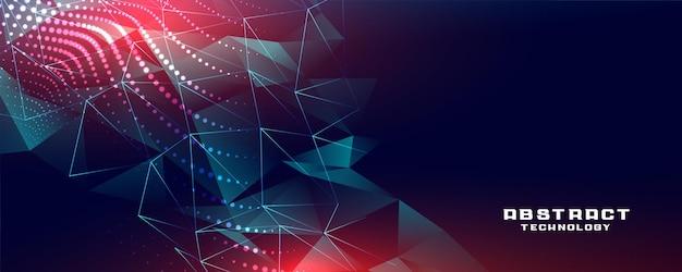Banner de tecnología con formas y partículas de baja poli.