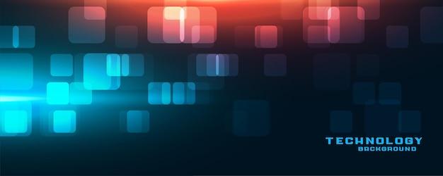Banner de tecnología futurista con luces rojas y azules.