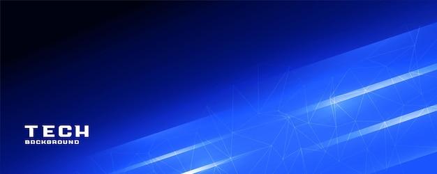 Banner de tecnología de líneas brillantes azules brillantes