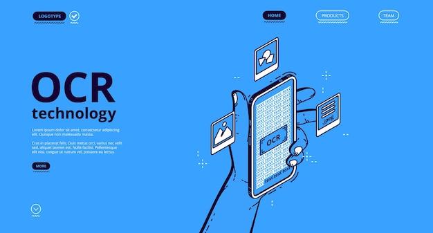 Banner de tecnología ocr. servicio de reconocimiento óptico de caracteres para escanear y digitalizar información de documentos en papel, imágenes y texto escrito a mano. página de inicio de vector con smartphone isométrico