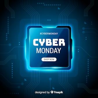 Banner de tecnología realista cyber lunes