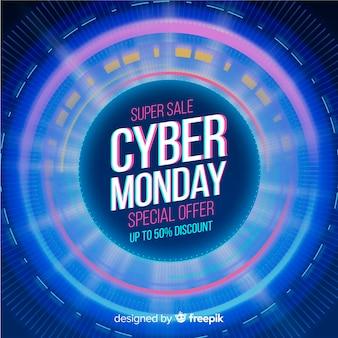 Banner de tecnología realista el lunes cibernético