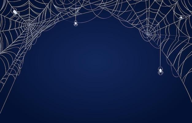 Banner de tela de araña. fondo decorado espeluznante de halloween con telarañas en las esquinas y arañas colgantes. patrón de vector de marco de telaraña de miedo. ilustración de banner de miedo y terror de halloween de araña