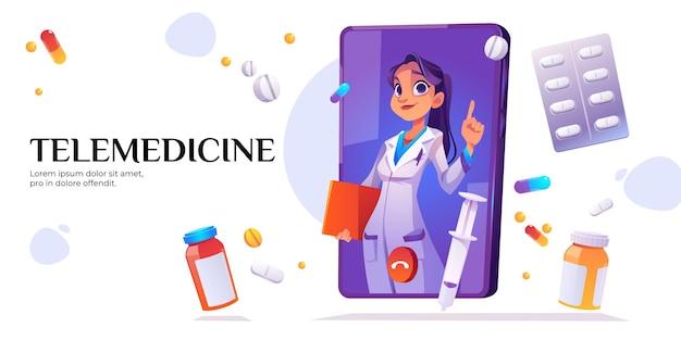 Banner de telemedicina. consulta médica en línea con el médico en la pantalla del teléfono móvil.