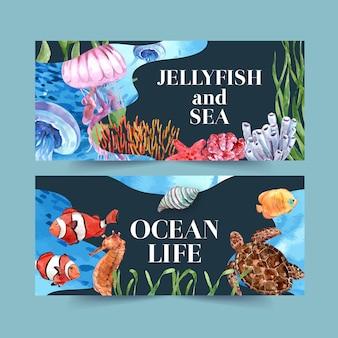 Banner con tema clásico de vida marina, ilustración creativa en color de contraste