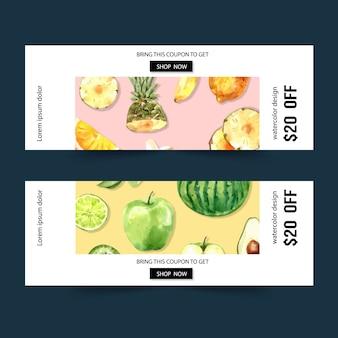 Banner con tema de frutas, sandía y manzana ilustración acuarela.