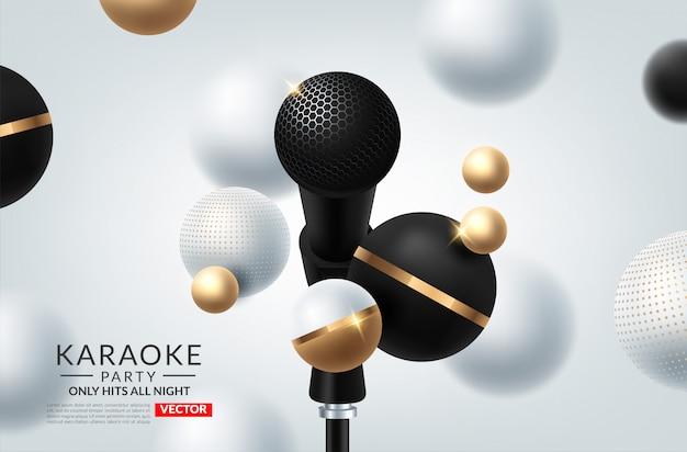 Banner de tema karaoke party con micrófonos.