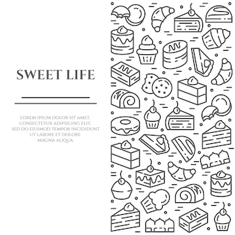 Banner de tema pasteles y galletas.