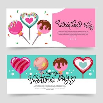 Banner de tema de san valentín con color turquesa y piruleta de caramelo