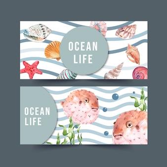 Banner con tema sealife, pez globo y conchas ilustración acuarela.