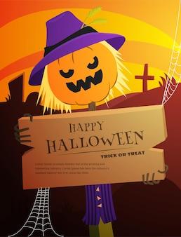 Banner de temática vectorial para la fiesta de halloween con calabaza de jack en un disfraz de espantapájaros