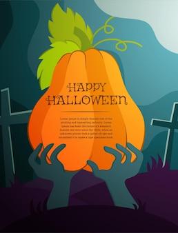 Banner de temática vectorial para la fiesta de halloween con una calabaza y la mano de un hombre muerto en el cementerio