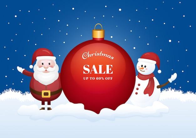 Banner de temporada de venta de navidad con santa claus y muñeco de nieve sobre fondo de invierno.