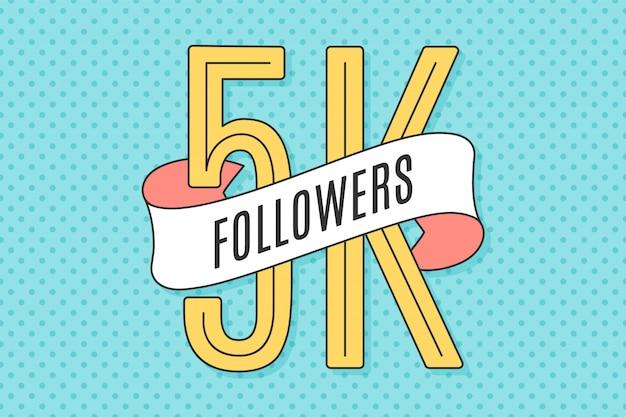 Banner con texto cinco mil seguidores